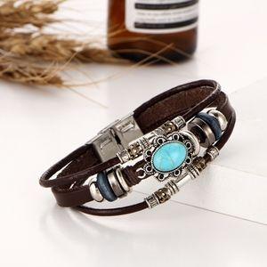 Jewelry - Vintage Boho Turquoise Oval & Leather Wrap Bracele
